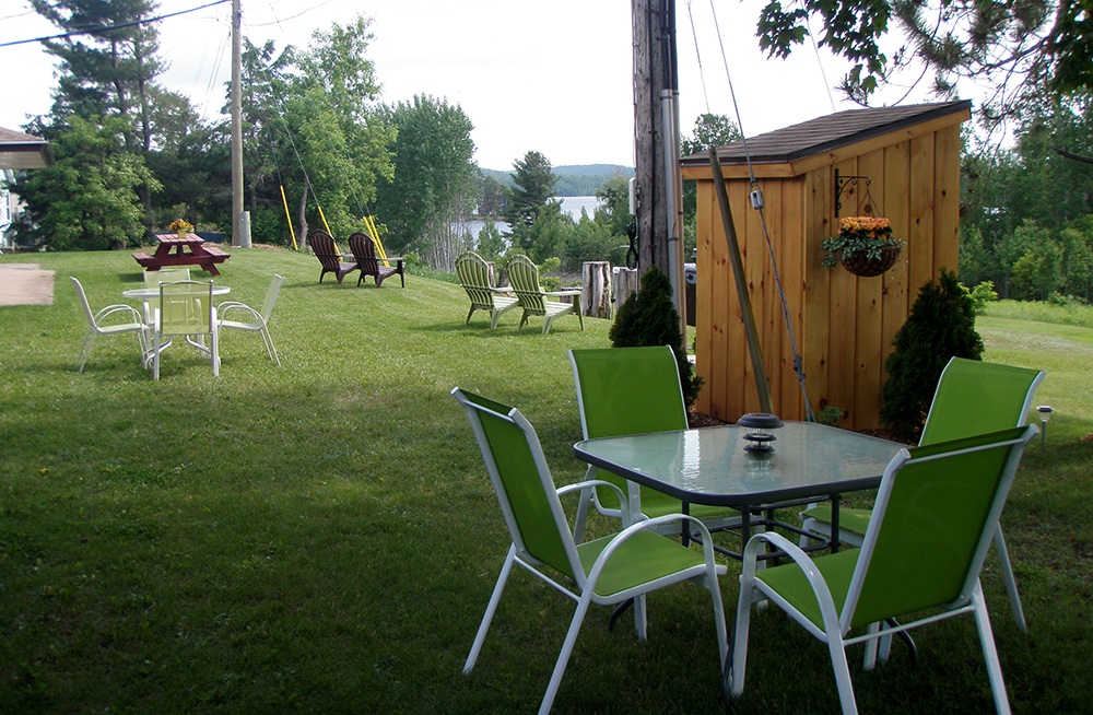 Pinewood Inn back yard with mature shade trees, picnic tables and lawn chairs.