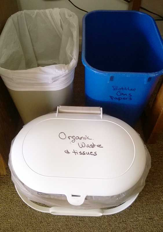 Recycling, organic waste and garbage containers are provided in each of our rooms.